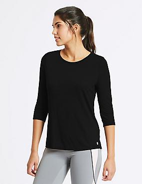 Textured Burnout 3/4 Sleeve Top, BLACK, catlanding