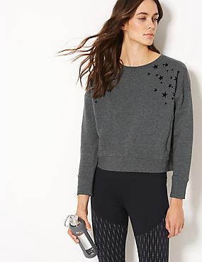 Cotton Rich Long Sleeve Sweatshirt, CHARCOAL MIX, catlanding