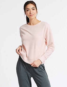 Cotton Rich Marl Long Sleeve Sweatshirt, LIGHT ROSE, catlanding