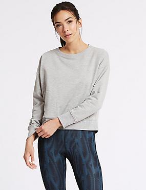 Cotton Rich Marl Long Sleeve Sweatshirt, GREY MARL, catlanding