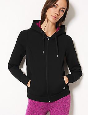 Breathable Long Sleeve Hooded Top , BLACK, catlanding