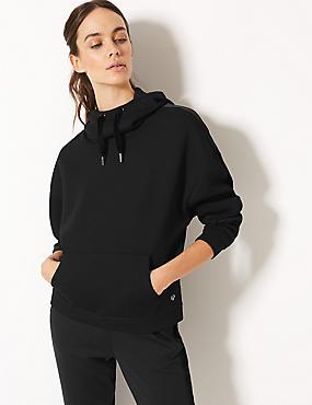 Long Sleeve Hooded Top, BLACK, catlanding