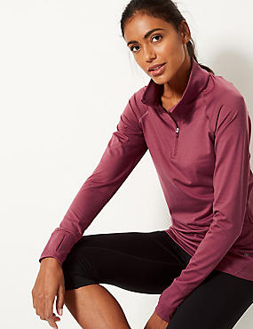 Quick Dry Long Sleeve Run Top, DARK PINK, catlanding