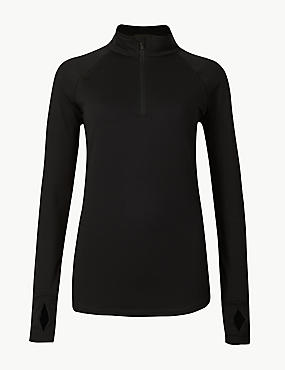 Quick Dry Long Sleeve Run Top, BLACK, catlanding