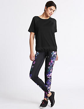 Floral Print Ombre Leggings, PURPLE MIX, catlanding