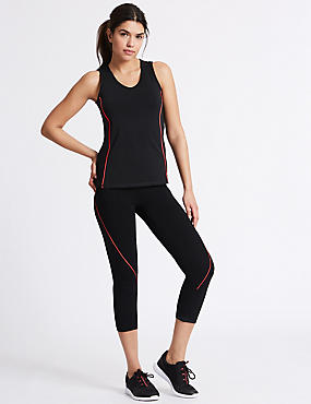 Active Cotton Rich Cropped Leggings, BLACK MIX, catlanding