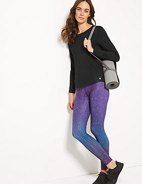 Quick Dry Printed Leggings, PURPLE MIX, catlanding