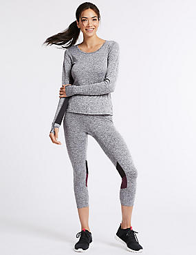 Quick Dry Cropped Leggings  , GREY MIX, catlanding