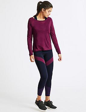 Quick Dry Colour Block Leggings, GRAPE MIX, catlanding