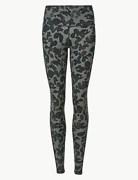 Quick Dry Animal Print Leggings, BLACK MIX, catlanding