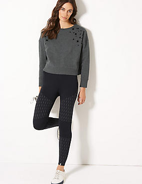 Quick Dry Reflective Leggings, BLACK MIX, catlanding