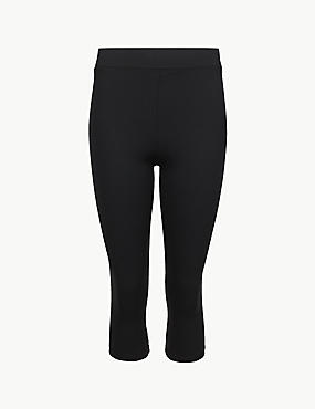 Quick Dry Cropped Sport Leggings, BLACK, catlanding