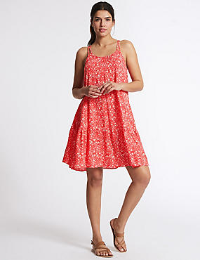 Woven Flippy Beach Dress, RED MIX, catlanding
