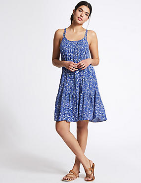 Woven Flippy Beach Dress, BLUE MIX, catlanding