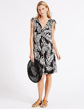 Palm Leaf Print Vest Dress