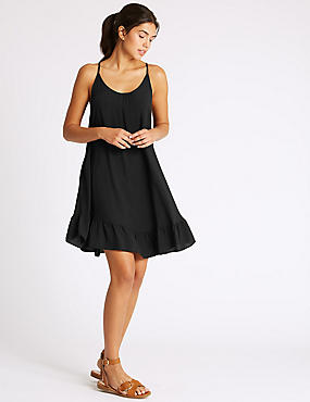 Woven Beach Dress, BLACK, catlanding