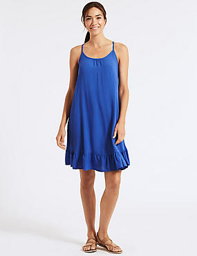 Woven Beach Dress, BLUE, catlanding