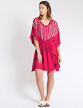V-Neck Embroidered Kaftan