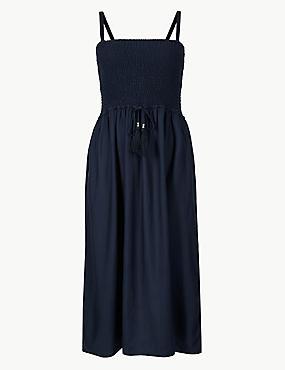 Shirred Swing Midi Dress, NAVY, catlanding