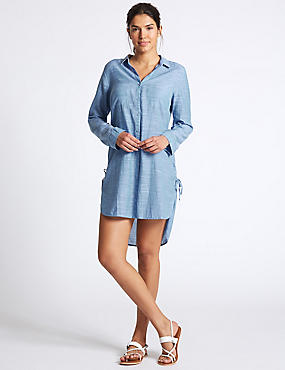 Pure Cotton Dipped Hem Shirt Dress