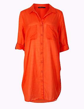 Pure Cotton Long Sleeve Shirt, ORANGE, catlanding