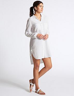 Pure Cotton Long Sleeve Shirt, WHITE, catlanding