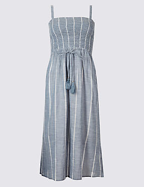 Pure Cotton Shirred Midi Dress