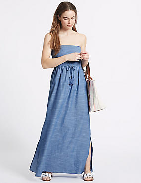 Pure Cotton Shirred Maxi Dress