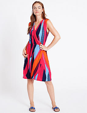 Colour Block Wrap Beach Dress