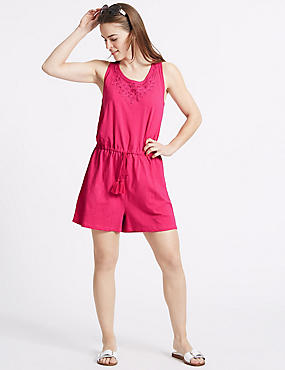 Pure Cotton Applique Playsuit