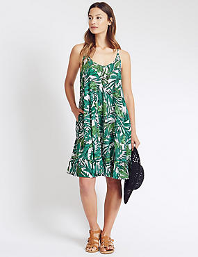 Leaf Print Fit & Flare Dress