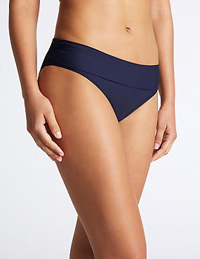Roll Top Bikini Bottoms, NAVY, catlanding