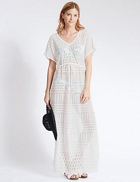 Embroidered Lace Short Sleeve Maxi Kaftan
