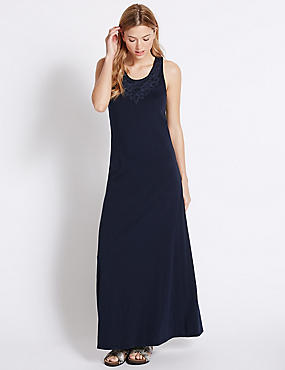 Pure Cotton Applique Maxi Dress