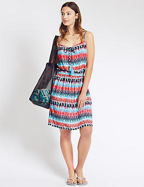 Ikat Print Laceup Fit & Flare Dress