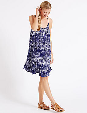 Shard Print Frill Vest Dress