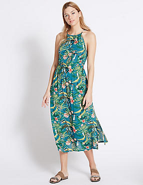 Tropical Print High Neck Maxi Dress
