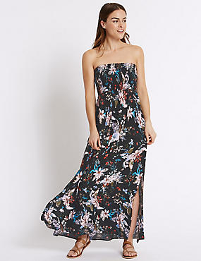 Floral Print Shirred Maxi Dress