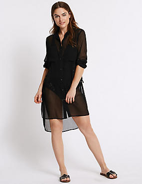 Chiffon Long Sleeve Shirt Dress
