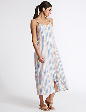 Pure Cotton Striped Maxi Dress, WHITE MIX, catlanding