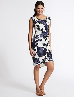 Floral Print Side Knot Beach Dress, WHITE MIX, catlanding