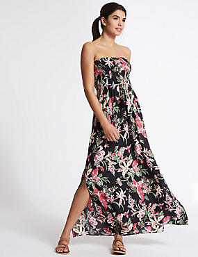 Floral Print Shirred Maxi Dress, BLACK MIX, catlanding