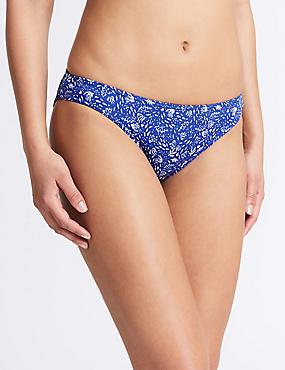 Printed Hipster Bikini Bottoms, BLUE MIX, catlanding