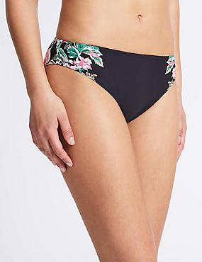 Floral Print High Leg Bikini Bottoms, BLACK MIX, catlanding