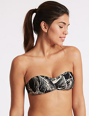 Printed Multiway Bikini Top, BLACK MIX, catlanding