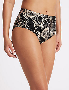 Printed High Waist Swim Bottoms, BLACK MIX, catlanding