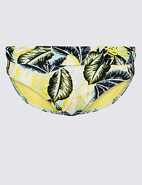 Palm Print Hipster Bikini Bottoms, AQUA MIX, catlanding