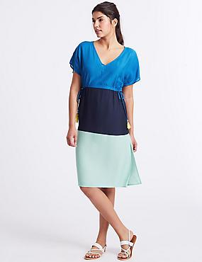 Colour Block Short Sleeve Midi Dress , NAVY MIX, catlanding