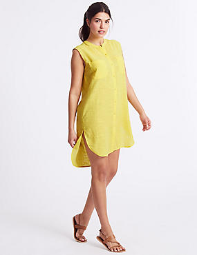 Pure Cotton Sleeveless Shirt Dress