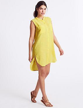 Pure Cotton Sleeveless Shirt Dress, YELLOW, catlanding